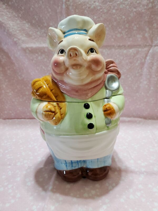 Vintage Ceramic Baker Chef Pig Cookie Jar