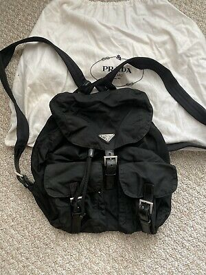 Authentic Vintage PRADA Nylon Tessuto Medium Backpack Bag w/ Drawstring, Black