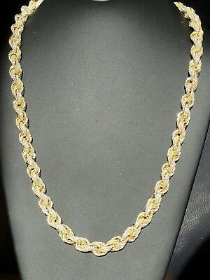 75ct Lab Diamond 14k Gold Over Solid 925 Sterling Silver Men's Rope Chain