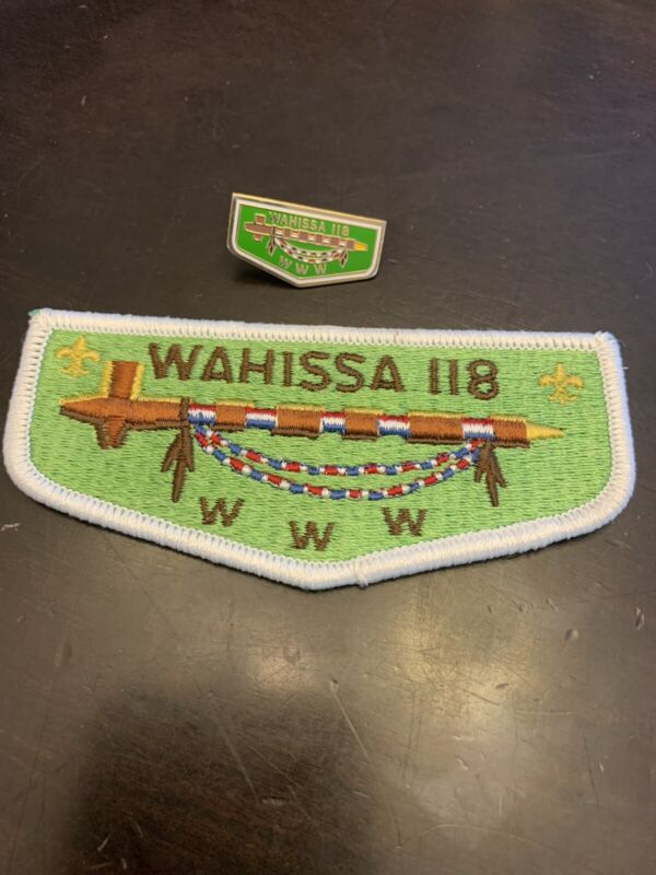 Boy Scout OA Hat Trading Pins & Patch Set Wahissa Lodge 118 Order Of The Arrow