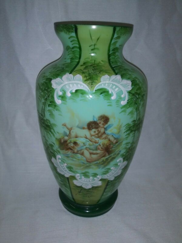 Single opaque, round shaped, gilded white, green opaline glass vase France