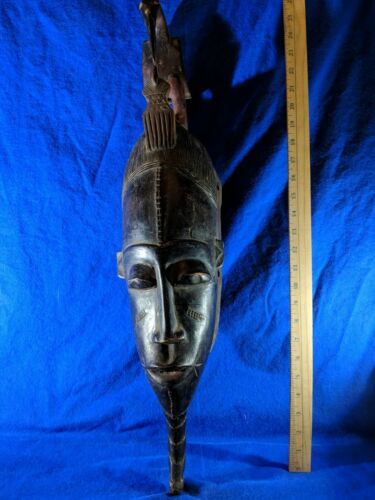 Long Guro Yaure Mask with Bird Carving — Authentic Handcarved African Wood Art