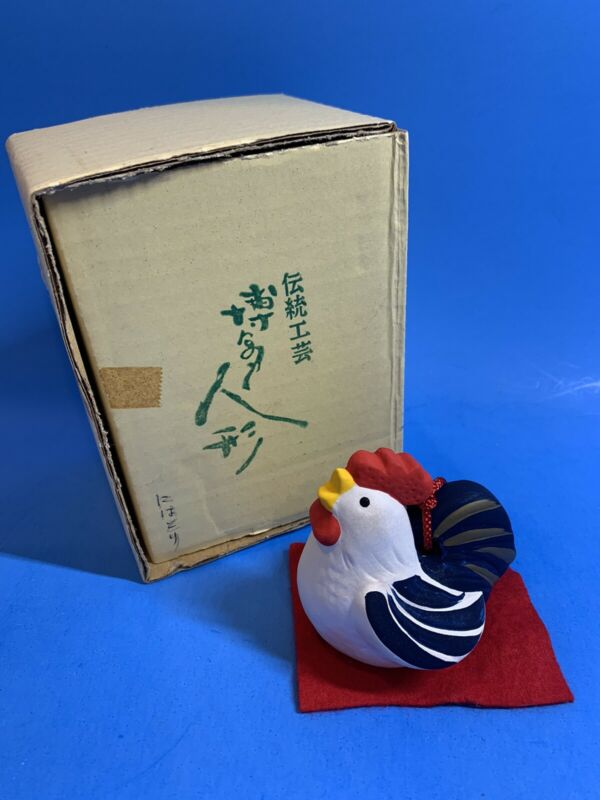 Japanese Clay Bell Ceramic Dorei Rooster Chicken Hand Painted Figurine w/Box