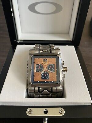 NEW OAKLEY MINUTE MACHINE TITANIUM COPPER DIAL FACE WATCH TIME TANK Hollow Point Tank Silver Dial