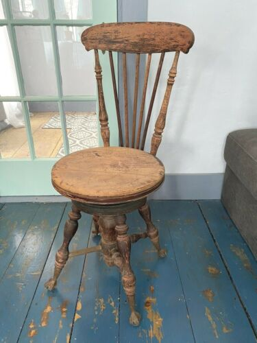 Antique C.1885 Piano Stool w/ Glass Ball & Claw Feet ~ Swivel Seat, Backrest
