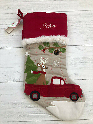 "NWT Pottery Barn Kids Christmas Stocking Woodland Deer Red Truck ""John"""