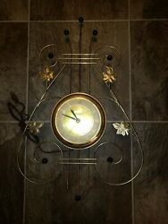 Vintage Mid Century United Wall Clock Electric Harp, Lyre, Maple Leaf- Model 240