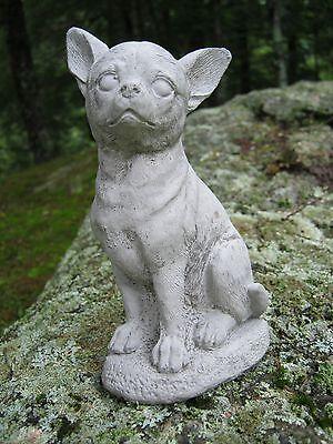 Chihuahua Statue, Unpainted Small Dog Concrete Cement Statue, Natural Gray Color