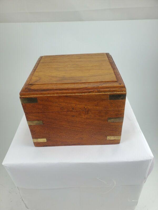 Maritime Nautical Ships Compass In Wood Box Brass Chrome Red Felt Very Good
