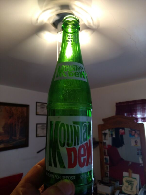 Vintage Collectible Green Mountain Dew 12 oz Glass Soda Bottle Money Back Bottle