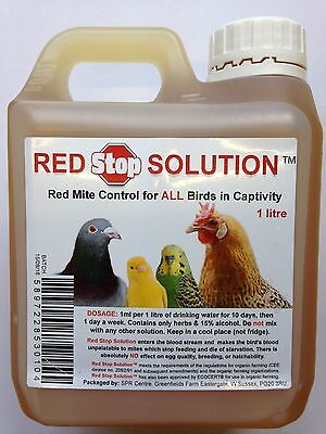 1 litre Red Stop Solution Mite Control for Chickens Poultry Bird Hatching egg