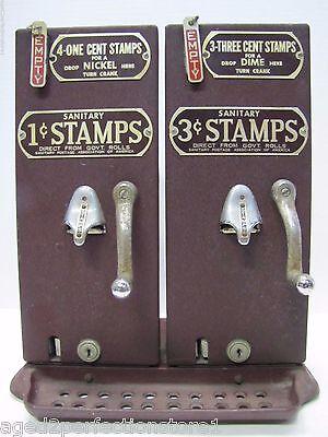Old Schermack Prod Detroit 1 & 3 cent Stamp Vending Machine double mach see thru