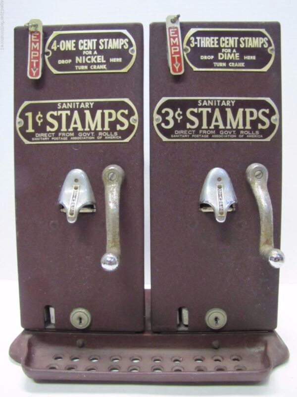 Old Schermack Prod Detroit 1 & 3 cent Stamp Vending Machine double mach see thru