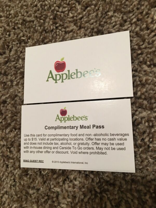 5 Set Applebees $15 Meal Pass Card Voucher Free Food Certificate No Expiration A