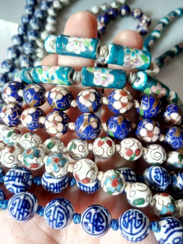 5 Vintage Bead Necklaces Chinese Porcelain & Glass Painted Floral Cloisonne Lot