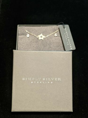Simply Sterling Silver 925 Crystal CZ Heart Earring Star Bracelet Set