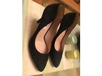 BNIB Clarks Ladies Wynnmere Fox Aubergine Suede Wedged Shoes