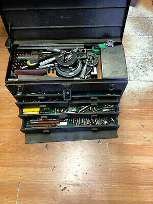 Kennedy Machinist Tool Box 7 Drawer Full Of Tools Starret Brown Sharpe Federal