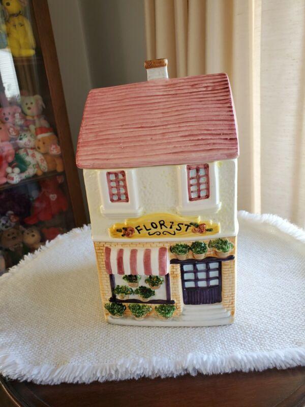 FLORIST HOUSE COOKIE JAR SHERWOOD