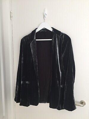 Zara Sold Out Rare Grey Velvet Silk Blend Suit Trousers Jacket
