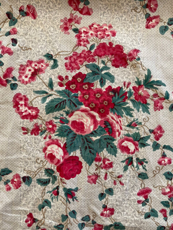 Pretty French Floral Rose Chintz Partial Curtain Panel  c.1860-70 - 53in x 30in