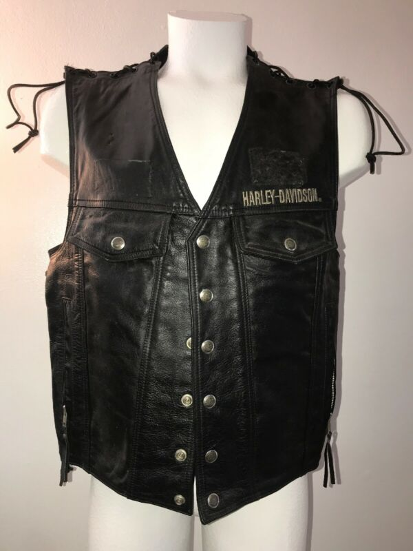 VTG HARLEY DAVIDSON BLACK LEATHER Biker VEST L Patches Pins Removed motorcycle