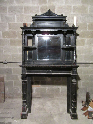 ~ TALL 2 PIECE ANTIQUE CARVED CHERRY FIREPLACE MANTEL ~ 54 X 100 ~ SALVAGE