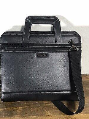 Samsonite Black Faux Leather Expandable Briefcase Laptop Bag Portfolio -