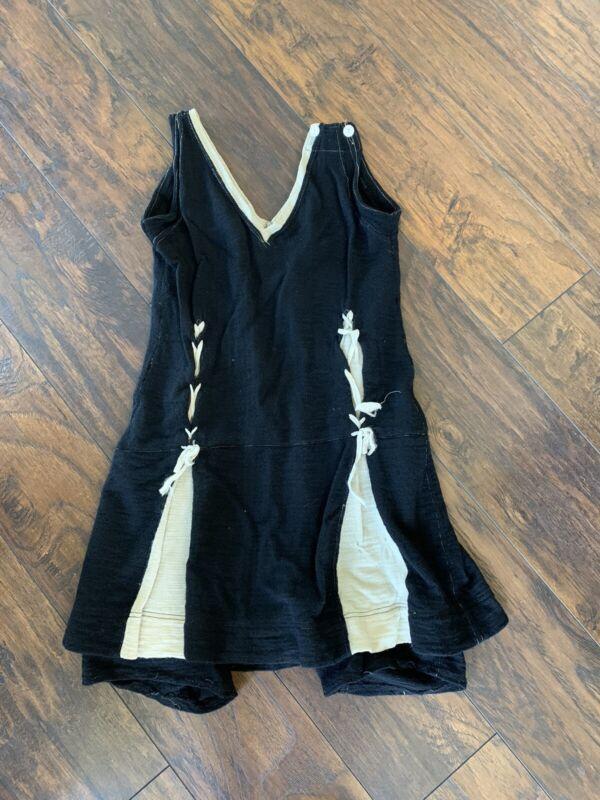 Vtg 1930s 40s Black And White Wool Skirted Swimsuit Bathing Suit Badger Athletic