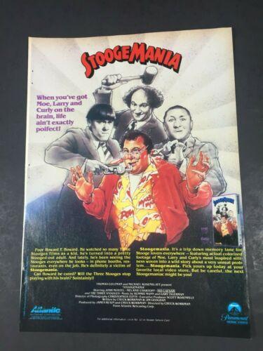 Vintage 1986 The 3 Three Stooges STOOGEMANIA Home Video poster Print AD
