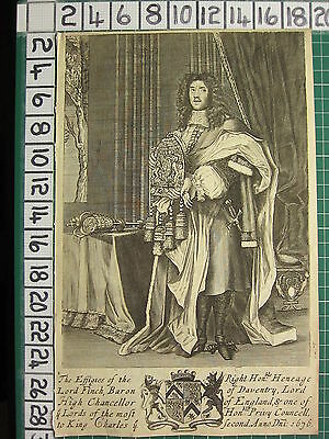 1676 DATED ANTIQUE PRINT ~ LORD FINCH BARON OF DAVENTRY LORD HIGH CHANCELLOR