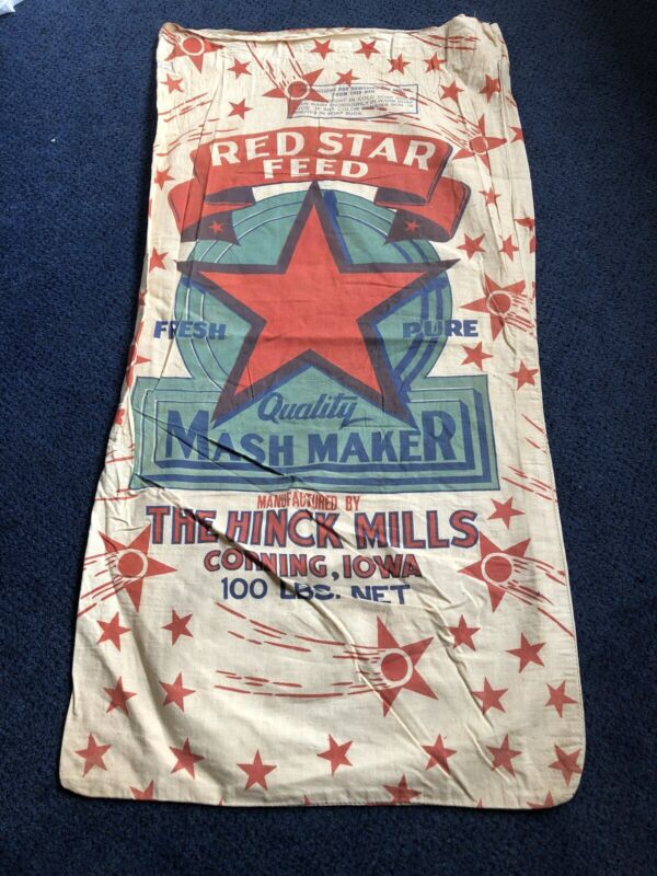 Vintage Red Star Corning Iowa Feed Sack Bag Cloth Seed Farm Chicken