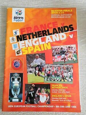Programme England vs Spain and France vs Netherlands EURO 1996