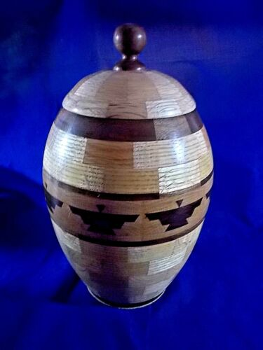 COOKIE JAR HAND CRAFTED FROM 258 PIECES OF EXOTIC WOOD ONE-OF-A-KIND -14
