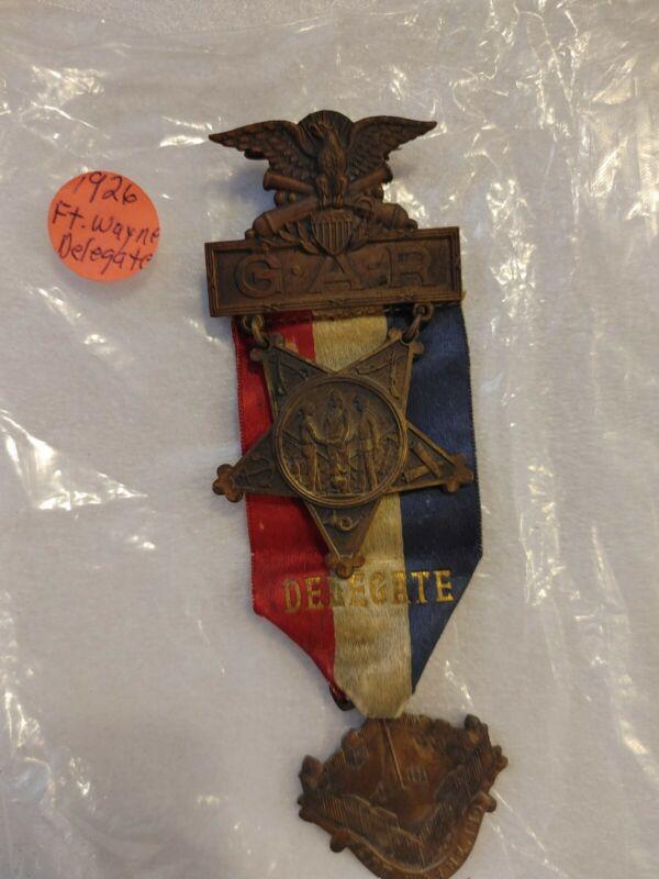 Civil War GAR 1926 Fort Wayne Indiana Medallion with Ribbon Delegate