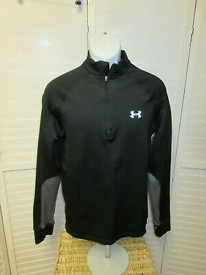 Under Armour Womens Cold Gear Loose Large 1/4 Zip Gray  Black Pullover