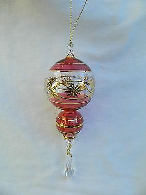 Ägyptischer Mundgeblasene Kostüm Gold Geätzter Glas Weihnachten Ornament