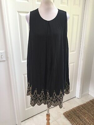 NWT She + Sky Black With Gold Embroidered Hem Silk Blend Dress Lg Black Silk Embroidered Hem Dress