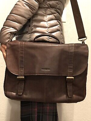 Samsonite Brown Leather Flap Over Saddlebag Briefcase Messenger Laptop Case
