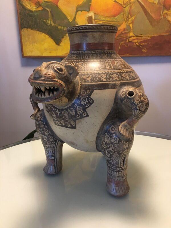 A Rare Museum Quality Pre Columbian Jaguar Vessel Costa Rica Authentic