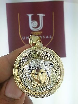 10K Solid Yellow Gold Two Tone Diamond Medusa Medallion Pendant Charm (Yellow Gold Diamond Square Pendant)