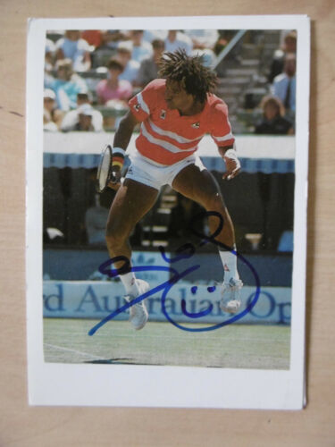 Yannick Noah Autogramm signed 10x15 cm Karteikarte mit Magazinbild