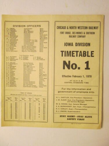 Chicago & North Western Time Table No. 1 Iowa  Division Feb.1, 1970