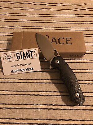 GiantMouse ACE Biblio Carbon Fiber/Satin M390 Knife Vox/Anso Excellent Cond!