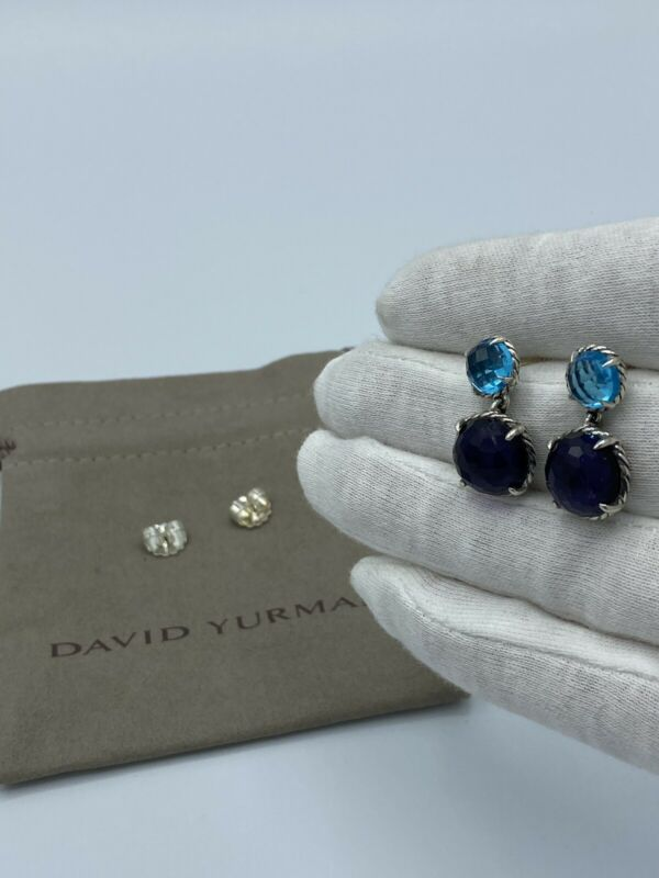 David Yurman Chatelaine Double Drop Earrings With Black Orchid And Blue Topaz