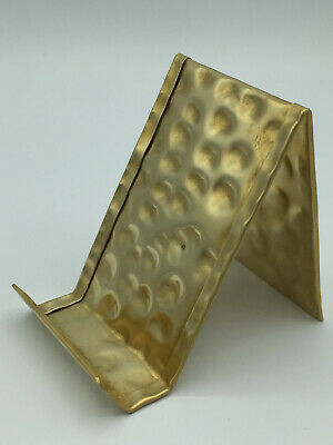 Vertical Hammered Brass Business Card Holder Made In Usa Anniversary Gift Desk