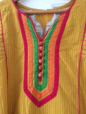 Vintage Mustard Yellow Cotton Parrot Indian Embroidered Cerise Trim Tunic Dress