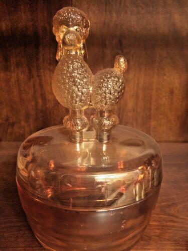 vintage carnival glass poodle dog candy dish powder jar bowl jar w/lid jeannette