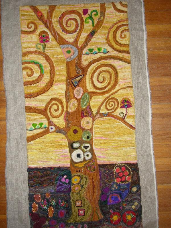 "Rug Hooking Pattern "" KLIMT TREE"" on natural linen"
