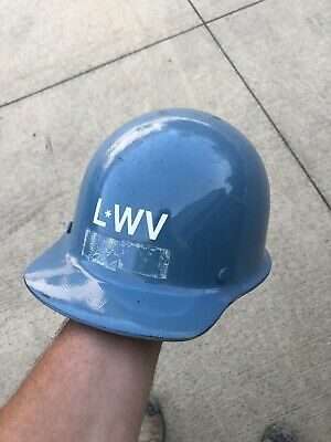 Vintage Msa Skullgard Hard Hat Blue Shell Iron Worker Construction Miner
